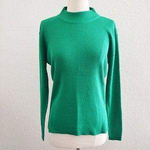 Yarnworks Green Mock Neck Knit Sweater Size M